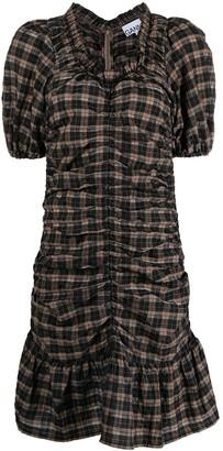 Ganni Seersucker Checked Ruched Mini Dress