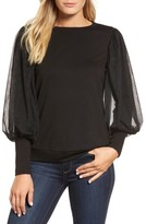 Gibson Women's Mesh Bishop Sleeve Ponte Top