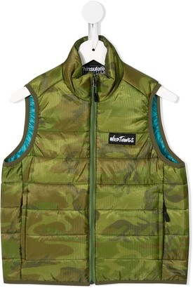 Denim Dungaree Camouflage-Print Padded Gilet