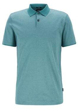 Slim-fit polo shirt in moulin cotton with contrast collar