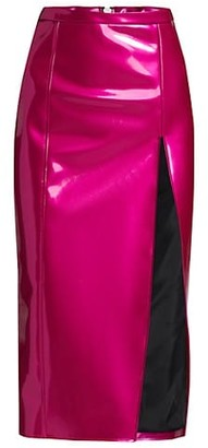 LaQuan Smith Vinyl Side Slit Pencil Skirt