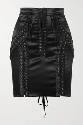 Dolce & Gabbana Lace-up Stretch-satin Mini Skirt - Black
