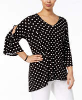 NY Collection Plus Size Bell-Sleeve Polka-Dot Tunic