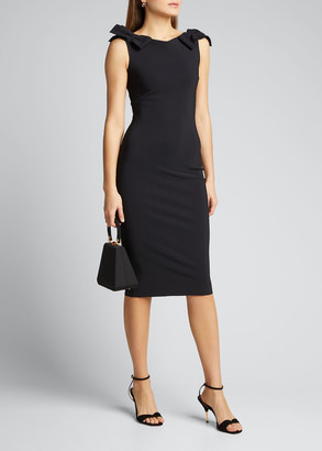 Chiara Boni Bow-Shoulder Sleeveless Sheath Dress