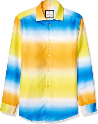 Azaro Uomo Unisex-Adult's Slim Fit Long Sleeve Fashion Floral Shirt Button Up Dress