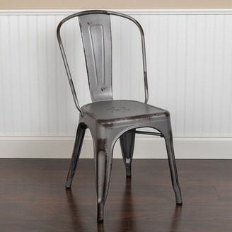 Neve Williston Forge Distressed Metal Indoor-Outdoor Stacking Patio Dining Chair Williston Forge