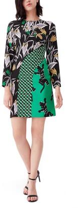 Diane von Furstenberg Jamie Mixed Print Long Sleeve Minidress