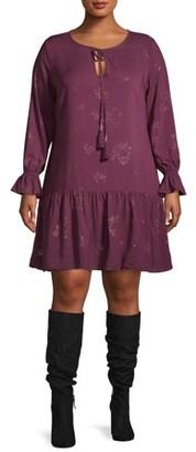 Cherokee Women's Plus Size Long Sleeve Tie Neck Ruffle Hem Peasant Dress