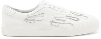Amiri Flame-applique Leather Trainers - White