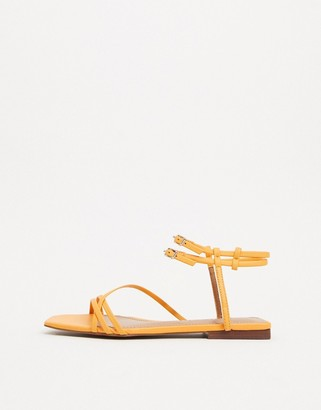 Who What Wear Ivy spaghetti strap flat sandals in yellow leather