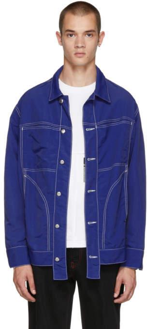 Eckhaus Latta SSENSE Exclusive Blue Nylon Jacket