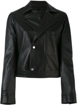 Helmut Lang snap button jacket - women - Cotton/Leather/Cupro - M