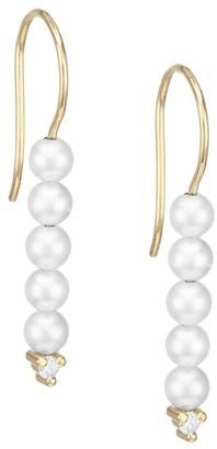 Mizuki 3MM Pearl, Diamond & 14K Yellow Gold Delicate Drop Earrings