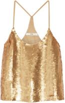 Tibi éclair Sequined Silk-georgette Camisole - Gold