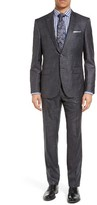 BOSS Men's T-Harvers/glove Trim Fit Solid Wool & Silk Suit