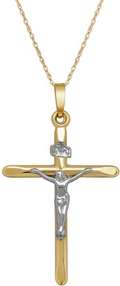 Everlasting Gold 10k Gold Crucifix Pendant Necklace
