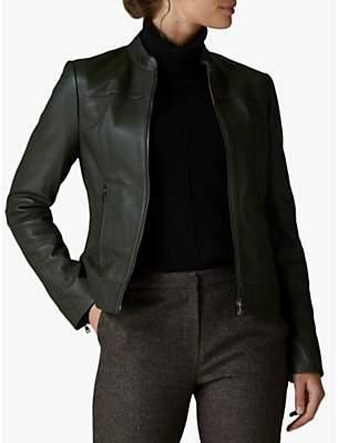 Jaeger Stand Collar Leather Biker Jacket, Green
