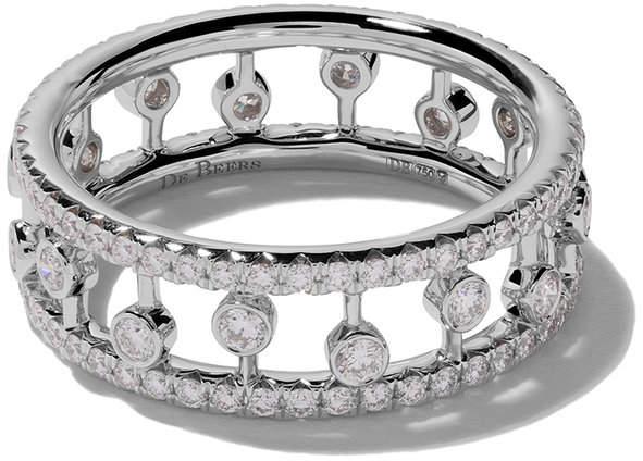 De Beers 18kt white gold Dewdrop diamond ring