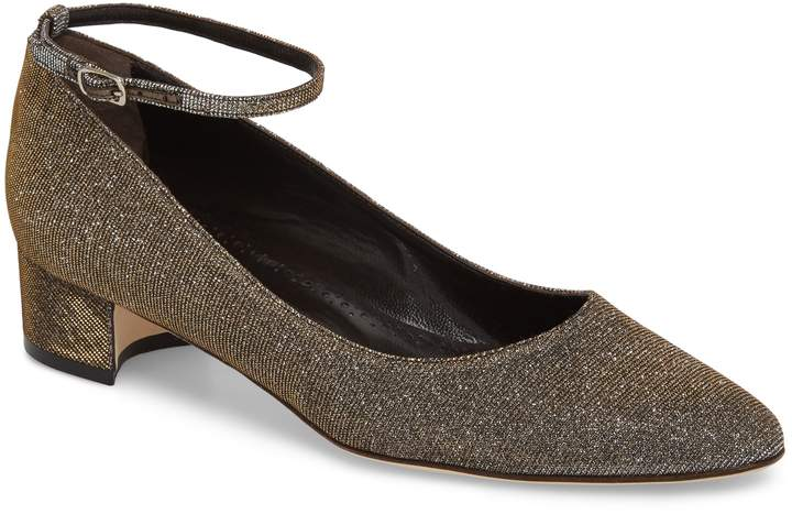 Manolo Blahnik Liston Metallic Quarter Strap Pump