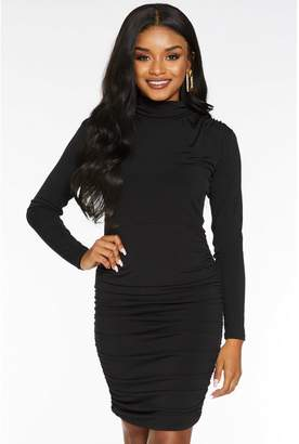 Quiz Petite Black High Neck Ruched Bodycon Dress