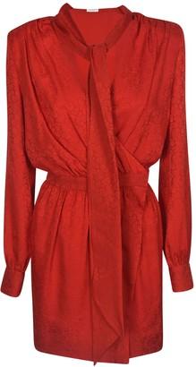 Saint Laurent Floral Embossed Wrap Dress