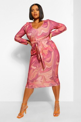 boohoo Plus Marble Print Tie Front Midi Dress