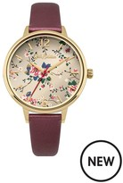 Cath Kidston TRAILING ROSE DEEP RED METALLIC LEATHER STRAP LADIES WATCH