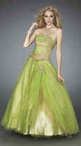 La Femme Multi-Toned Lace Appliqued Strapless Ball Gown 11788