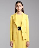 St. John Milano Knit Double-Breasted Blazer, Tuscan Yellow