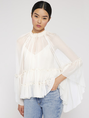 Alice + Olivia Lanita Angel Sleeve Ruffle Blouse