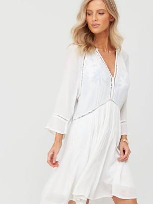Figleaves Icon Milan Long Sleeve Kaftan Ladder Dress - White