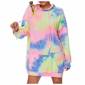 Coyer Women's Tie Dye Hooded Long Sleeve Oversized Sweatshirts with Pockets UK Size Plus Size Pullover Shirt Casual Warm Jumpers Classic Cotton Loose T Shirt Dress