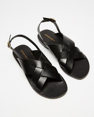 Atmos & Here Atmos&Here - Women's Black Strappy sandals - Achilles Leather Sandals - Size 6 at The Iconic