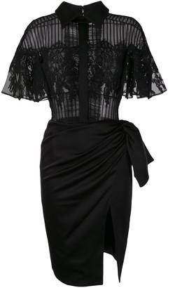 Saiid Kobeisy Lace-Panel Shirt Dress