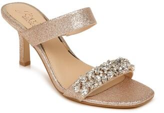 Badgley Mischka Fabe Crystal Strap Slide Sandal