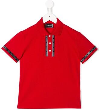 Versace logo strip polo shirt