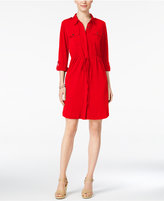NY Collection Petite Roll-Tab Utility Shirtdress