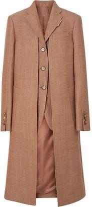 Burberry Waistcoat Detail Wool Tailored Coat