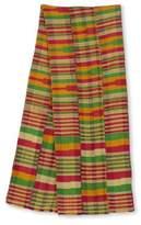 Pink Green and Orange Kente Cloth Scarf (12 Inch Width), 'Obaahema'