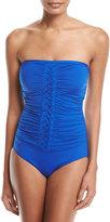 Jantzen Ruched Braided Bandeau One-Piece Swimsuit, Blue