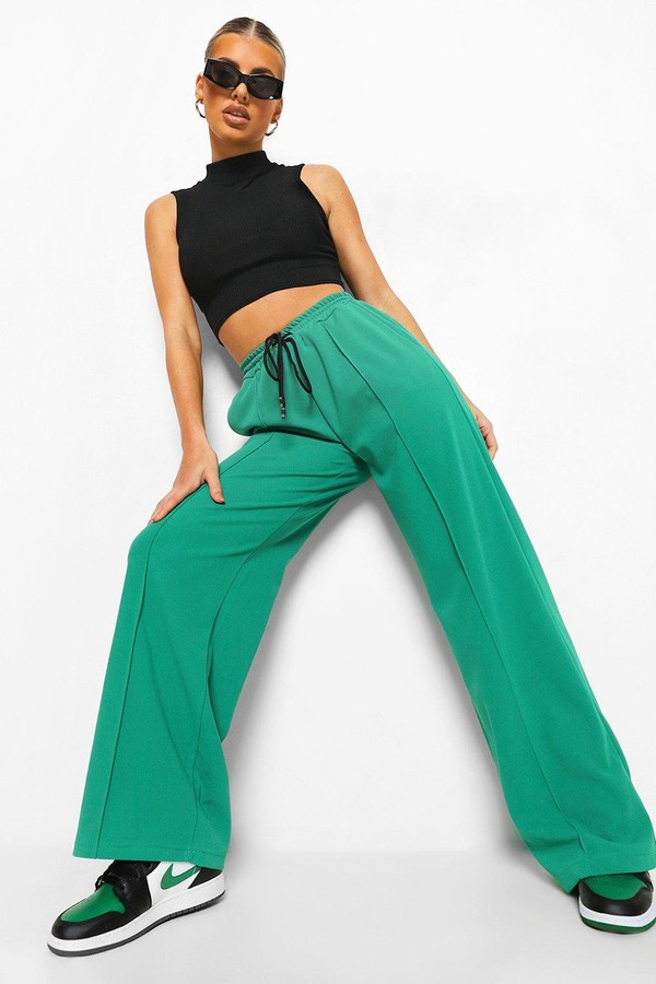 Thumbnail for your product : boohoo Piping Detail Wide Leg Woven Joggers