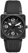 Bell & Ross Carbon men's 46mm black ion-plated strap watch