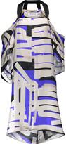 Maison Margiela Cutout printed silk crepe de chine dress