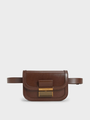 Charles & Keith Metallic Push-Lock Front Flap Bag