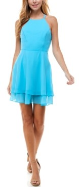 City Studios Juniors' Double-Ruffle Chiffon Fit & Flare Dress