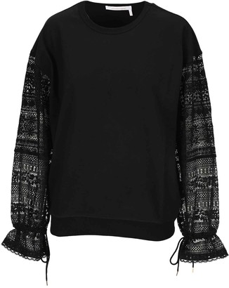 See by Chloe Embroidered Sleeve Sweatshirt