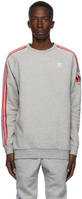 adidas Grey adiColor 3D Trefoil Crewneck Sweater