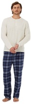 Maine New England Big And Tall Cream Long Sleeved Top And Checked Trousers Loungewear Set