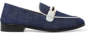 NewbarK Melanie Leather-trimmed Denim Loafers