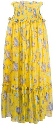 MSGM smocked-waist crinkle-chiffon skirt